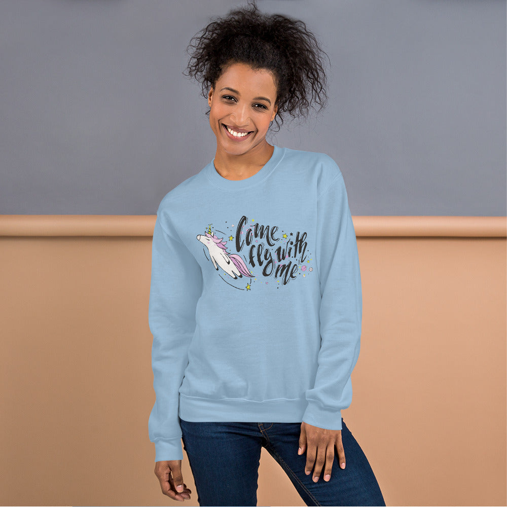Come Fly With Me Unicorn Crewneck Sweatshirt for Women