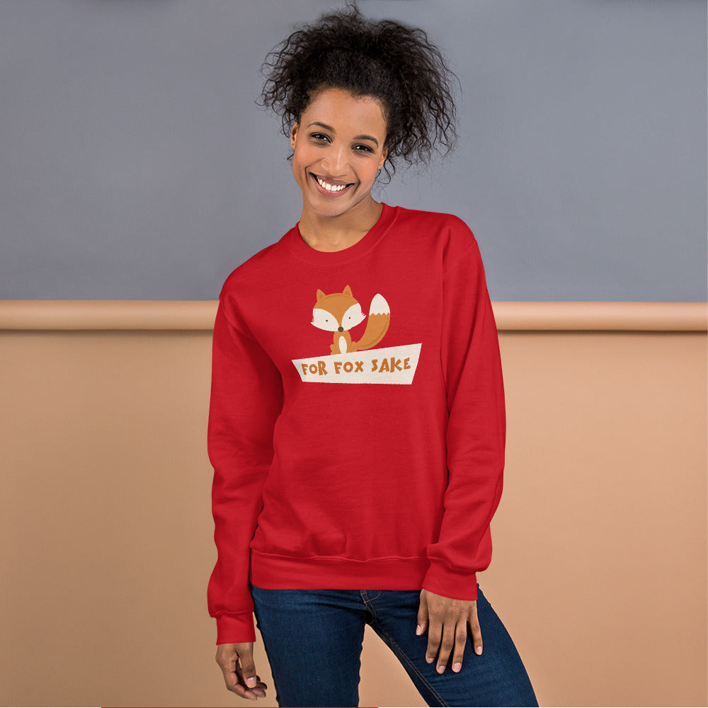 For Fox Sake Sweatshirt | Red Crewneck Funny Sweatshirt for Women