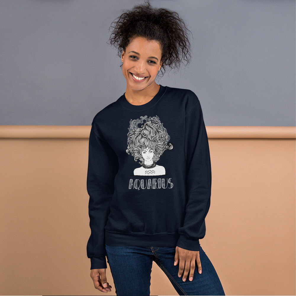 Aquarius Sweatshirt | Navy Crewneck Aquarius Zodiac Sweatshirt