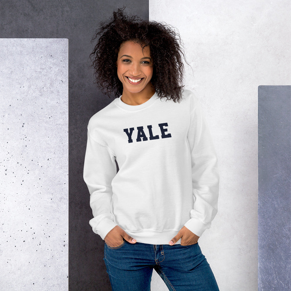 Yale Sweatshirt | White Yale Crewneck Sweatshirt for Women