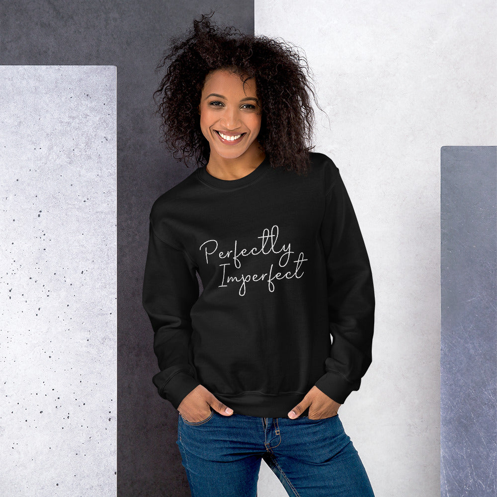 Perfectly Imperfect Sweatshirt | Black Perfectly Imperfect Crew Neck Sweatshirt for Women