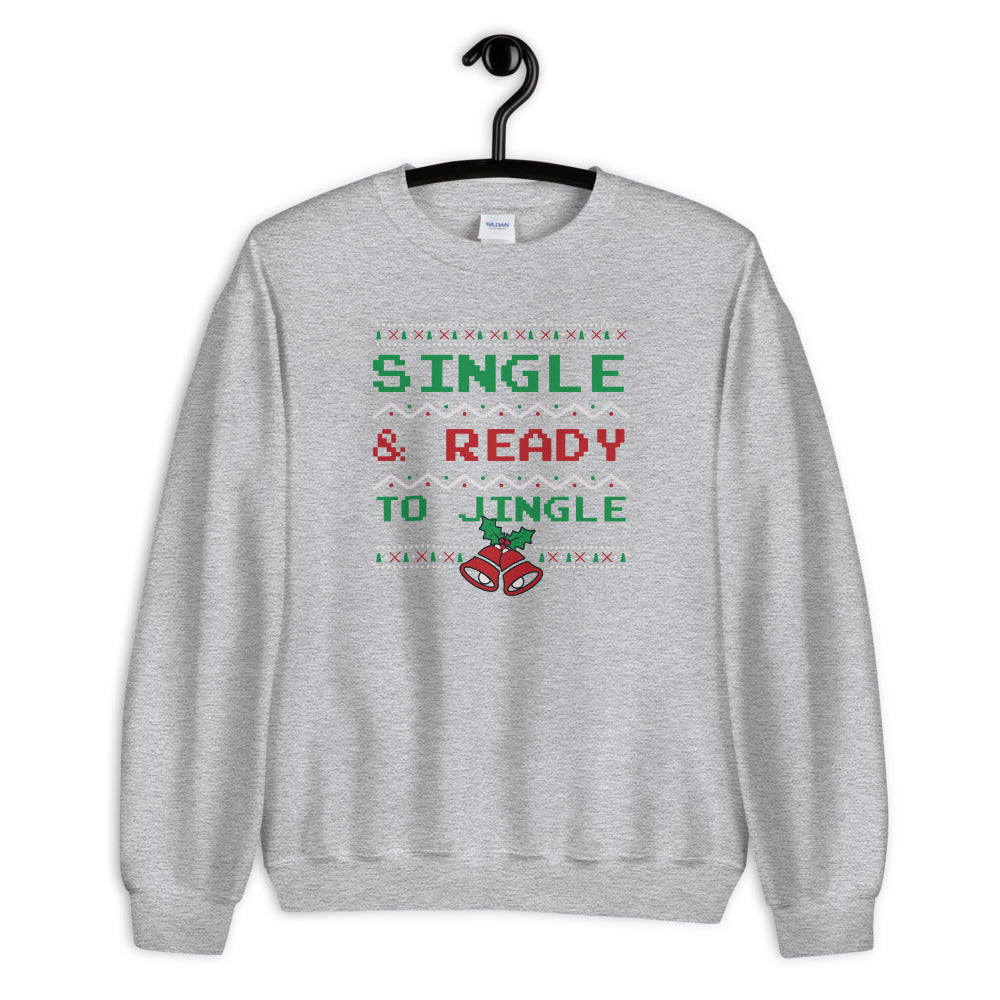 Single and Ready to Jingle Sweatshirt, Grey Funny Christmas Sweatshirt
