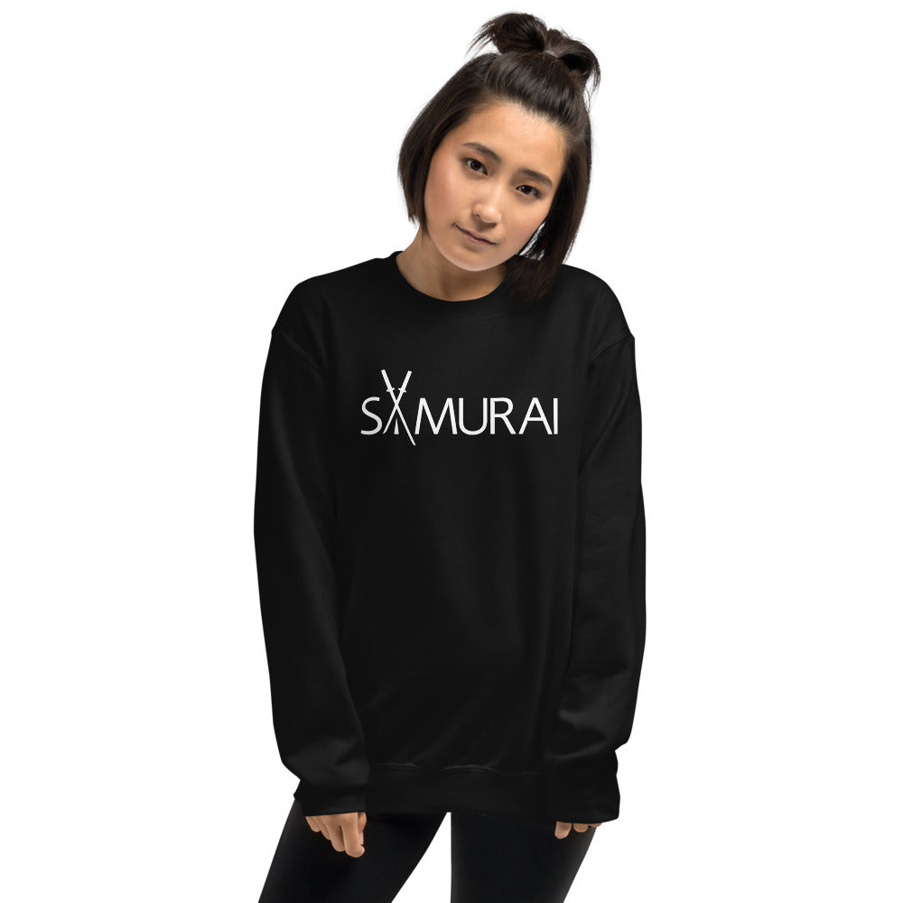 Samurai Sweatshirt | Black Crewneck Samurai Sweatshirt for Women