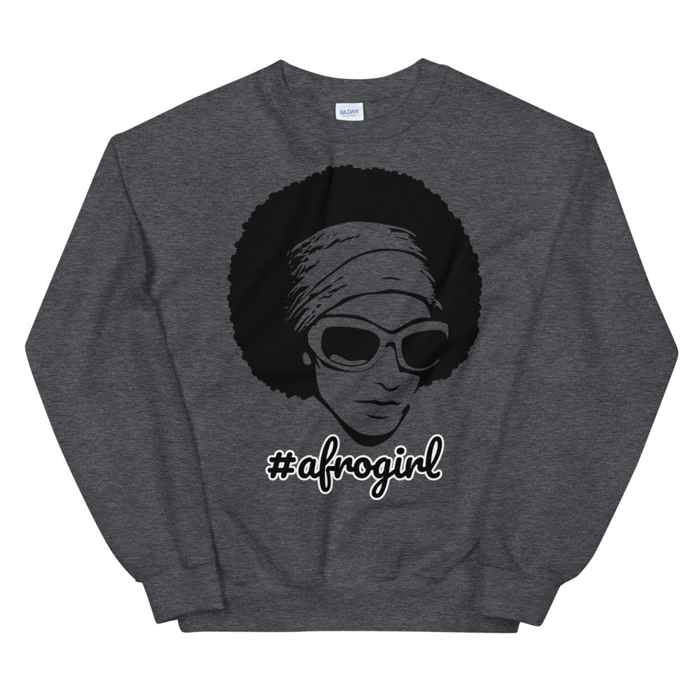 Afro Girl Hashtag Crewneck Sweatshirt for Divas