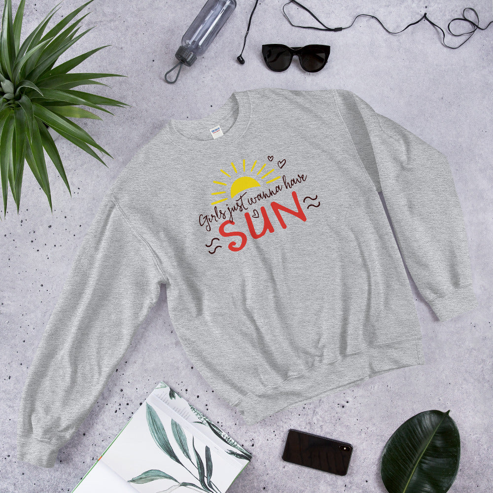 Girl Just Wanna Have Sun Sweatshirt for Women in Grey Color