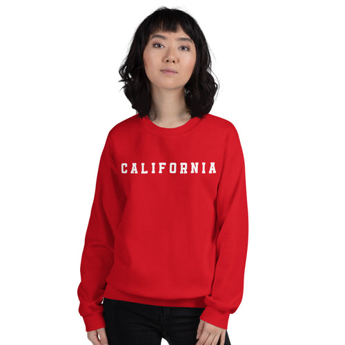 California Sweatshirt | Red Crew Neck College Pullover Sweatshirt