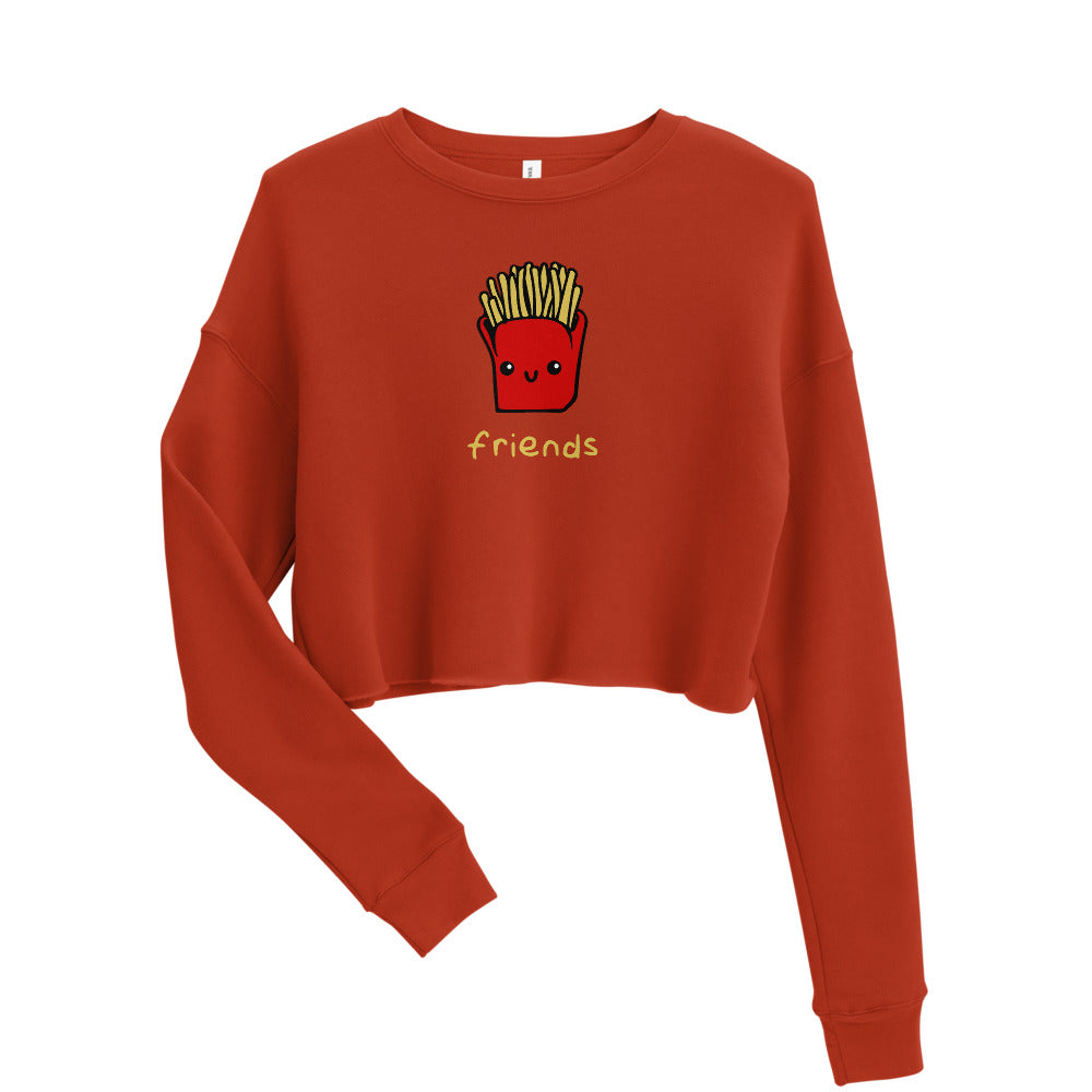 Friends Fleece Cropped Top Crew Neck Sweatshirt