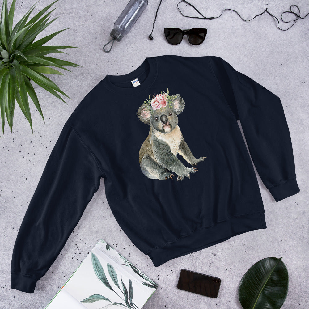 Cute Baby Koala Bear Sweatshirt in Navy Color for Women