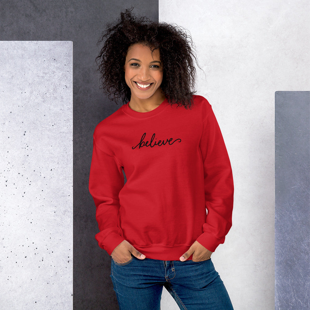 Believe Sweatshirt | Red One Word Believe Sweatshirt for Women