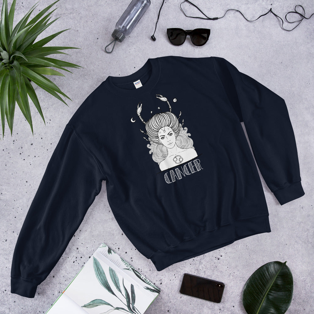 Cancer Sweatshirt | Navy Crewneck Cancer Zodiac Sweatshirt