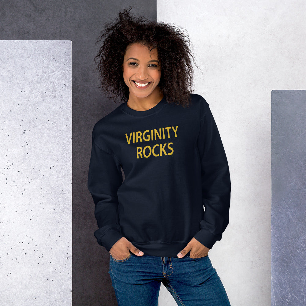 Virginity Rocks Sweatshirt | Navy Crewneck Virginity Rocks Sweatshirt for Women