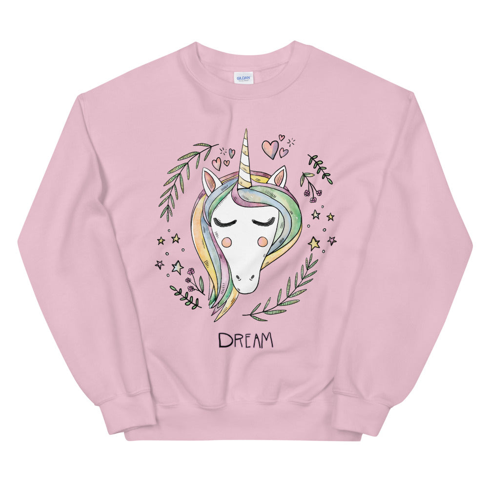 Cute Unicorn Face Dream Crewneck Sweatshirt for Women