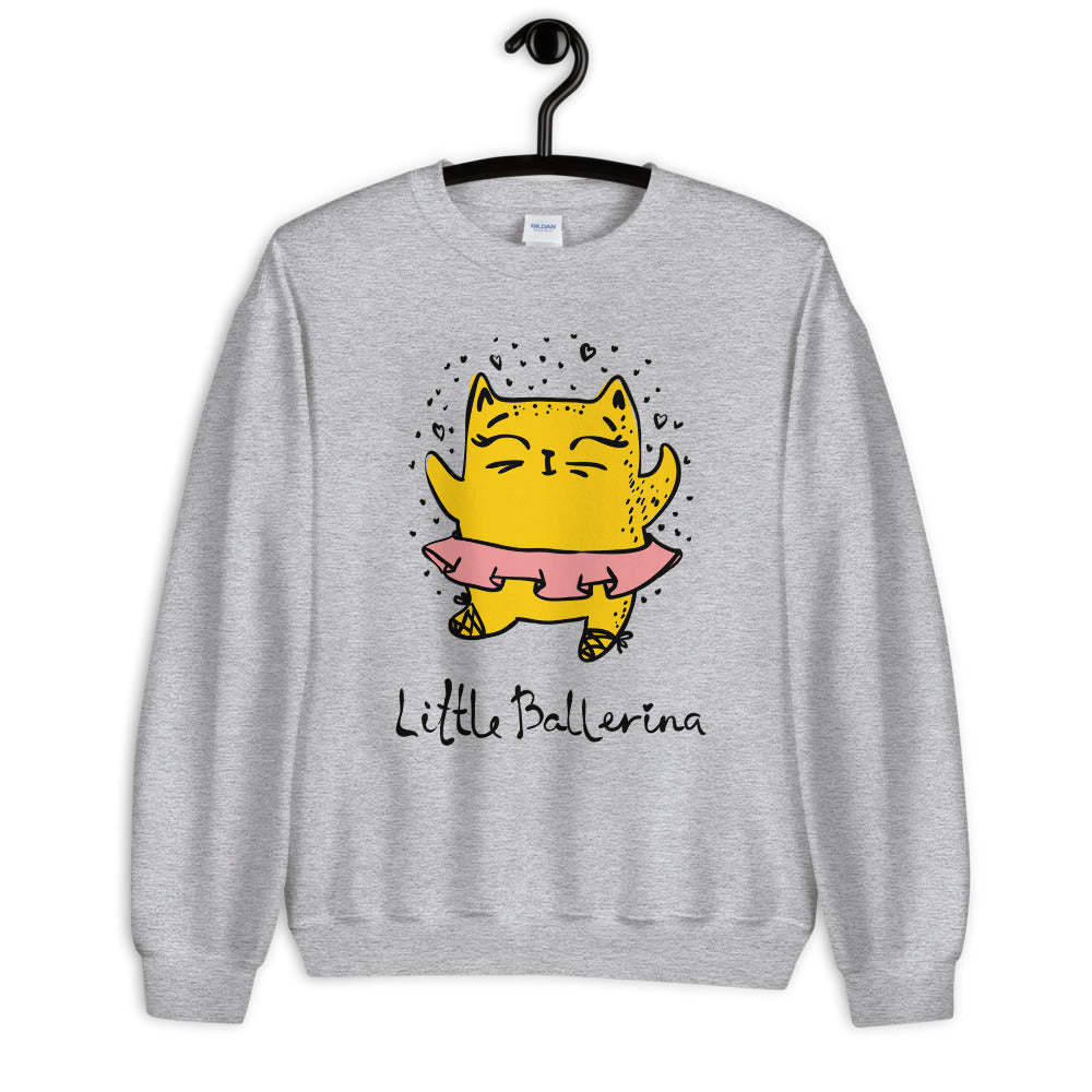 Little Ballerina Cat Cartoon Crewneck Sweatshirt for Women
