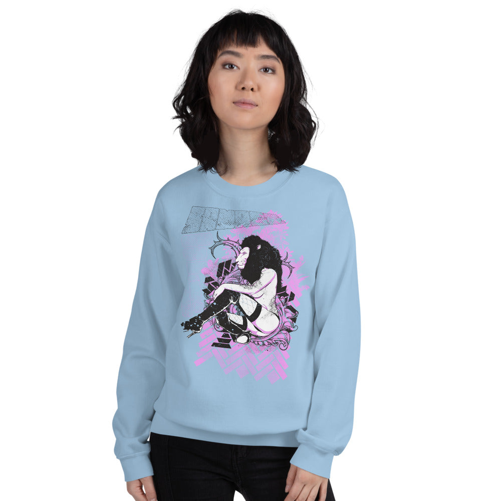 Sexy Lion Head Girl Poster Crewneck Sweatshirt for Women