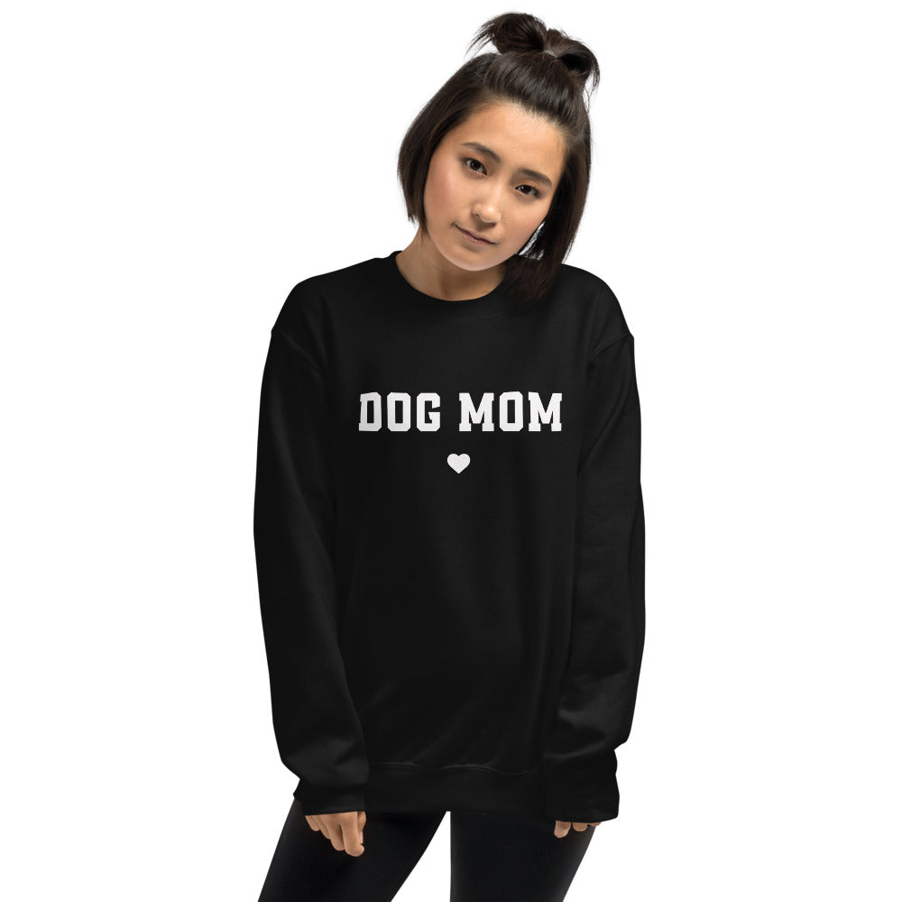 Dog Mom Sweatshirt | Black Crewneck Dog Mom Sweatshirt for Women
