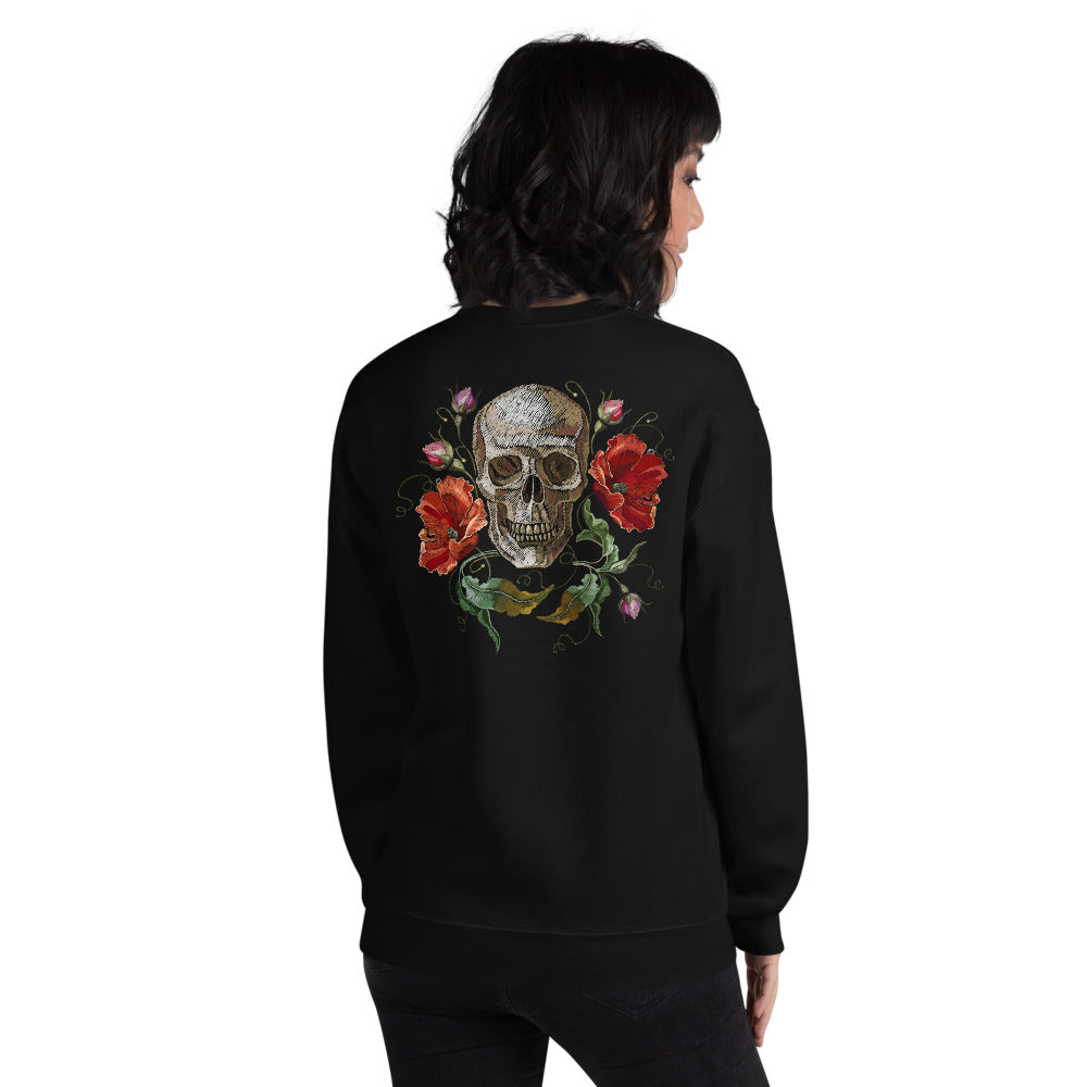 Rose Skull Sweatshirt | Black Skull with Roses Sweatshirt for Women