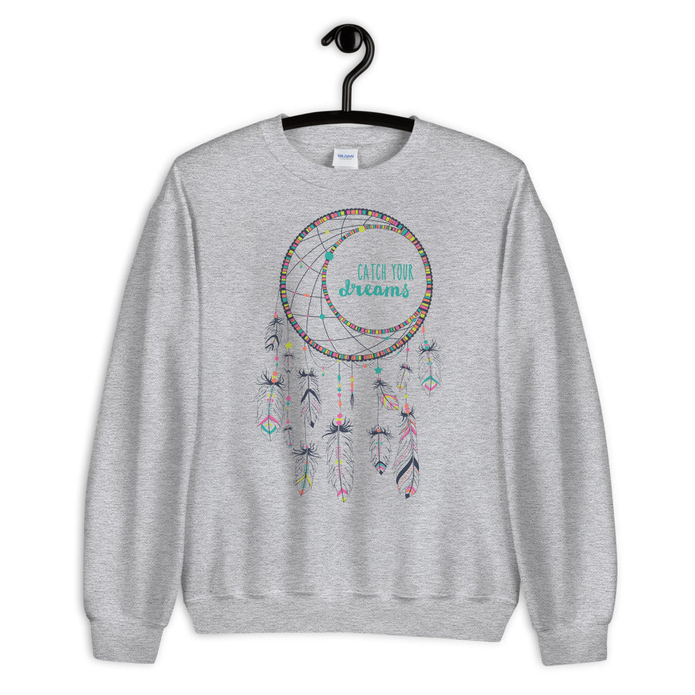 Catch Your Dreams Sweatshirt | Grey Boho Style Dream Catcher Sweatshirt
