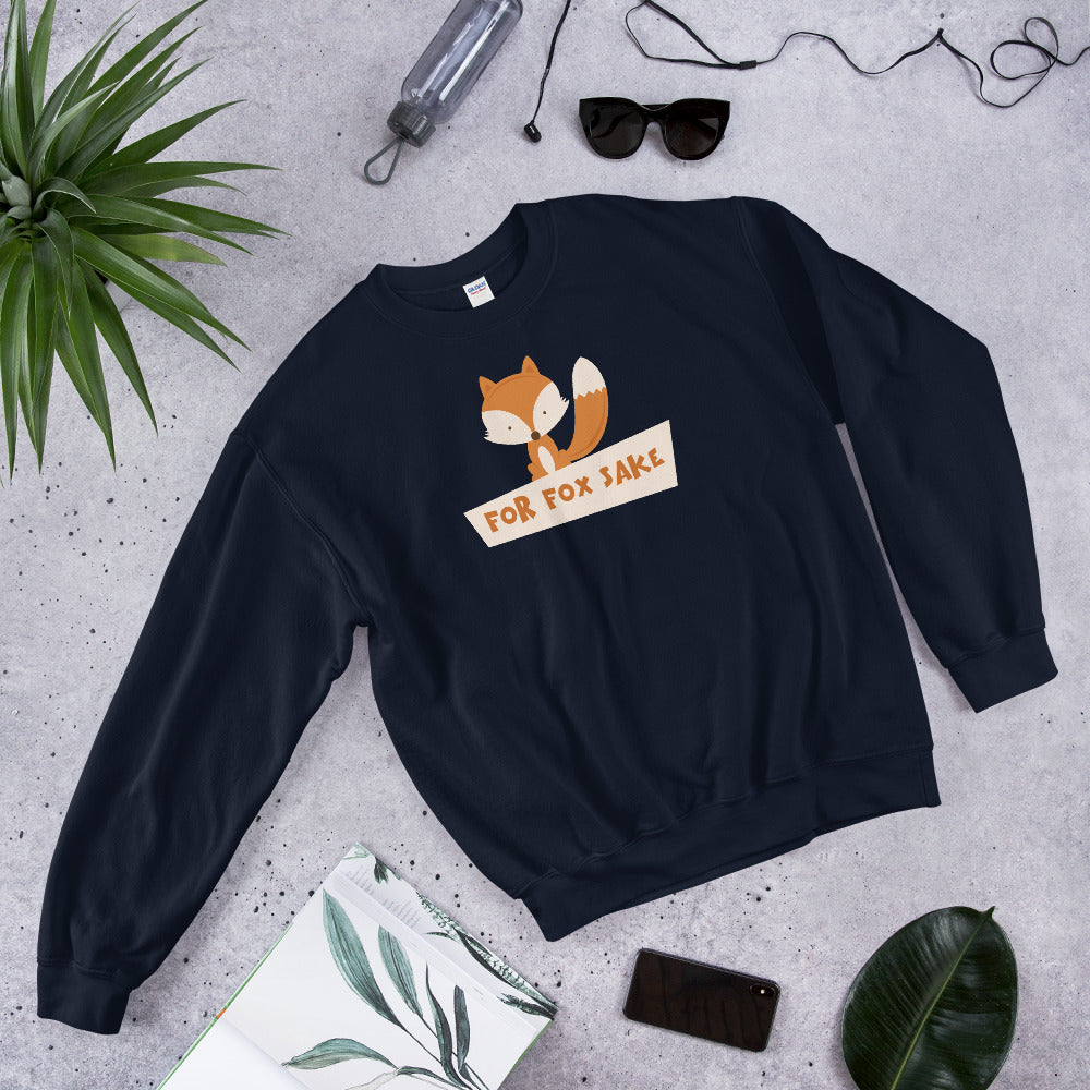 For Fox Sake Sweatshirt | Navy Crewneck Funny Sweatshirt for Women