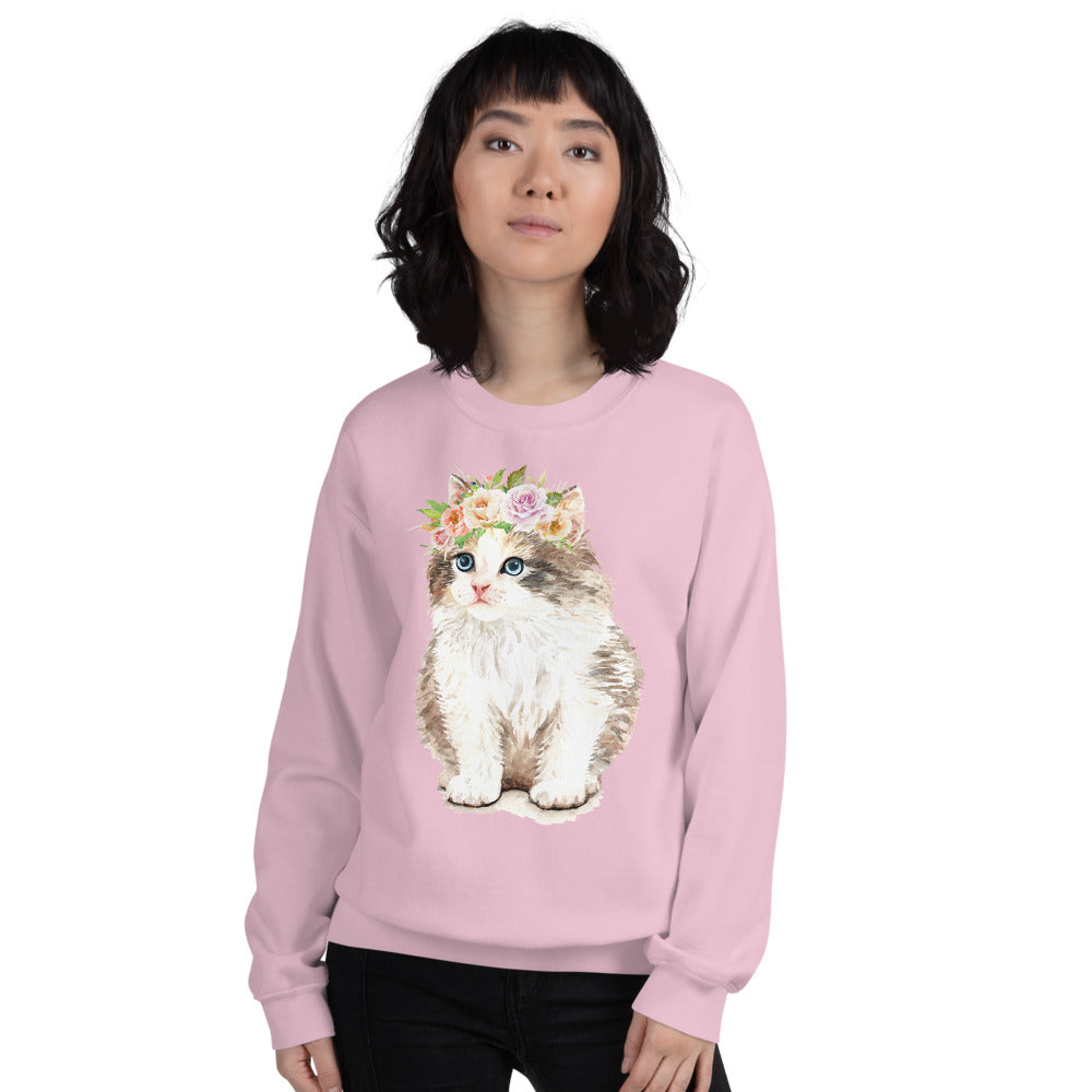 Cute Fluffy Cat with Flower Crown Crewneck Sweatshirt