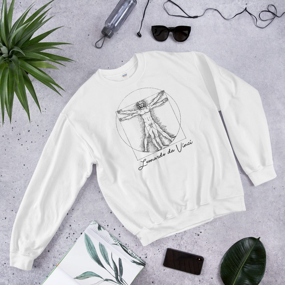 White Leonardo da Vinci Vitruvian Man Sweatshirt for Women