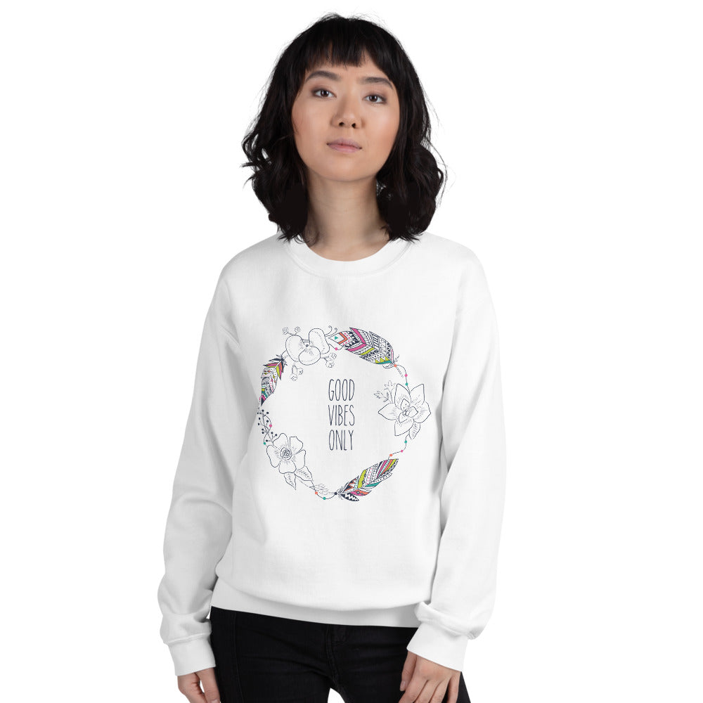 Good Vibes Only Sweatshirt | White Boho Style Sweatshirt for Women