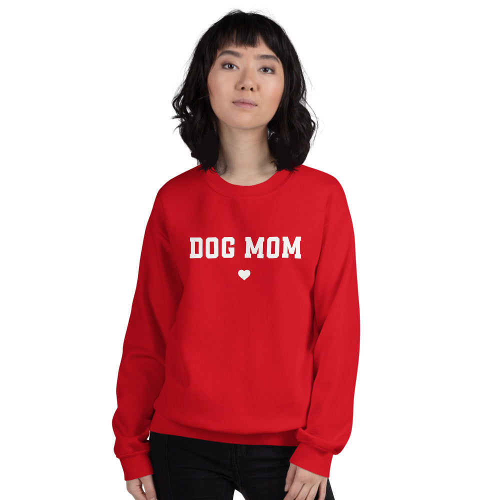 Dog Mom Sweatshirt | Red Crewneck Dog Mom Sweatshirt for Women