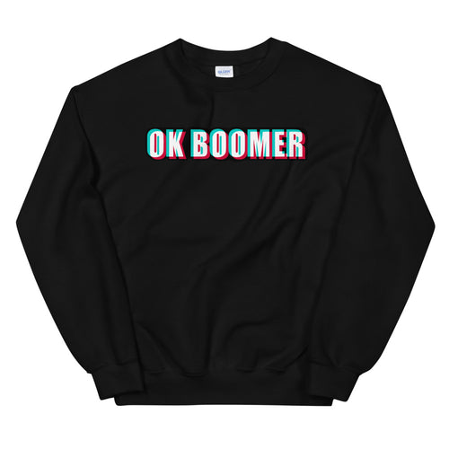Black Ok Boomer Pullover Crewneck Sweatshirt for Women
