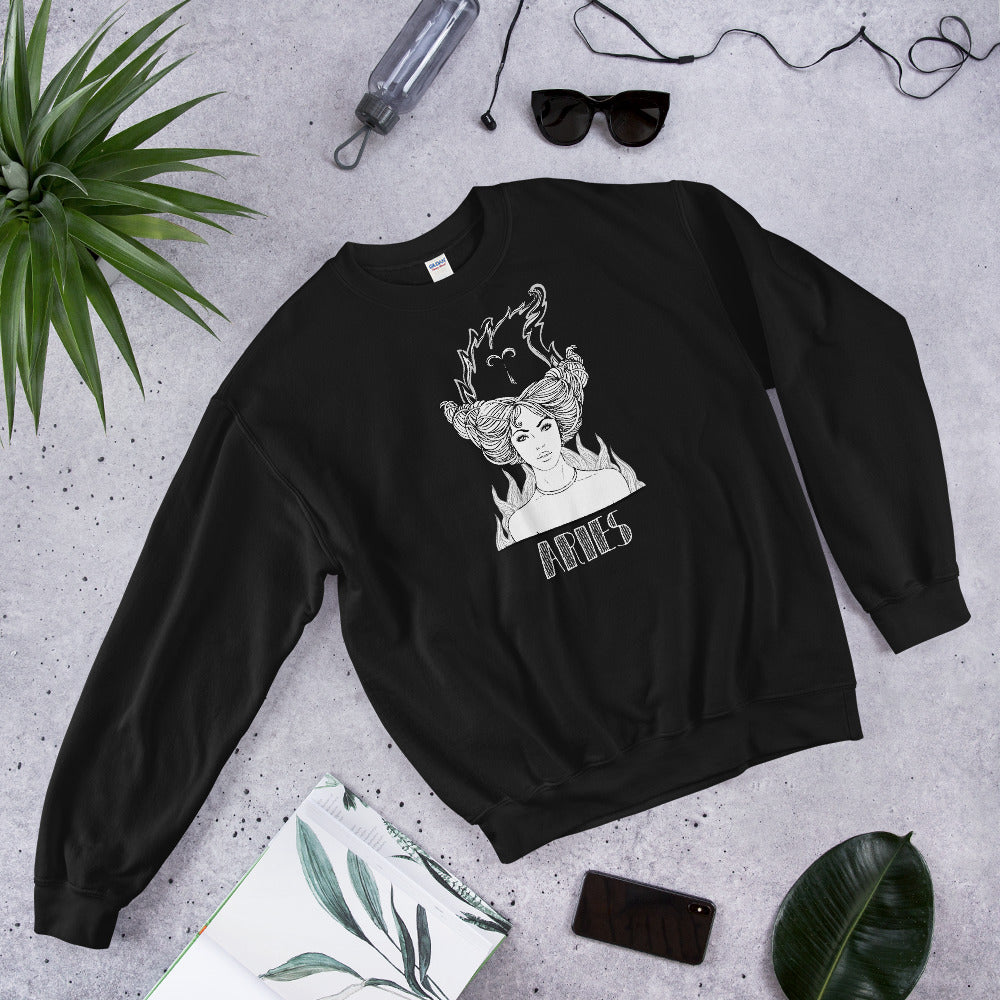 Aries Sweatshirt | Black Crewneck Aries Zodiac Sweatshirt