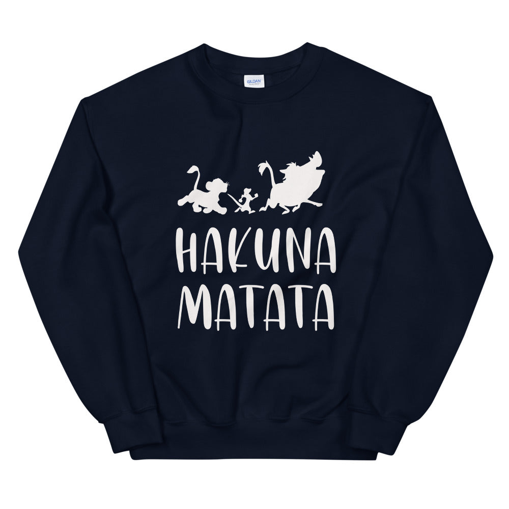 Hakuna Matata Sweatshirt | Navy Lion King Hakuna Matata Crew Neck for Women