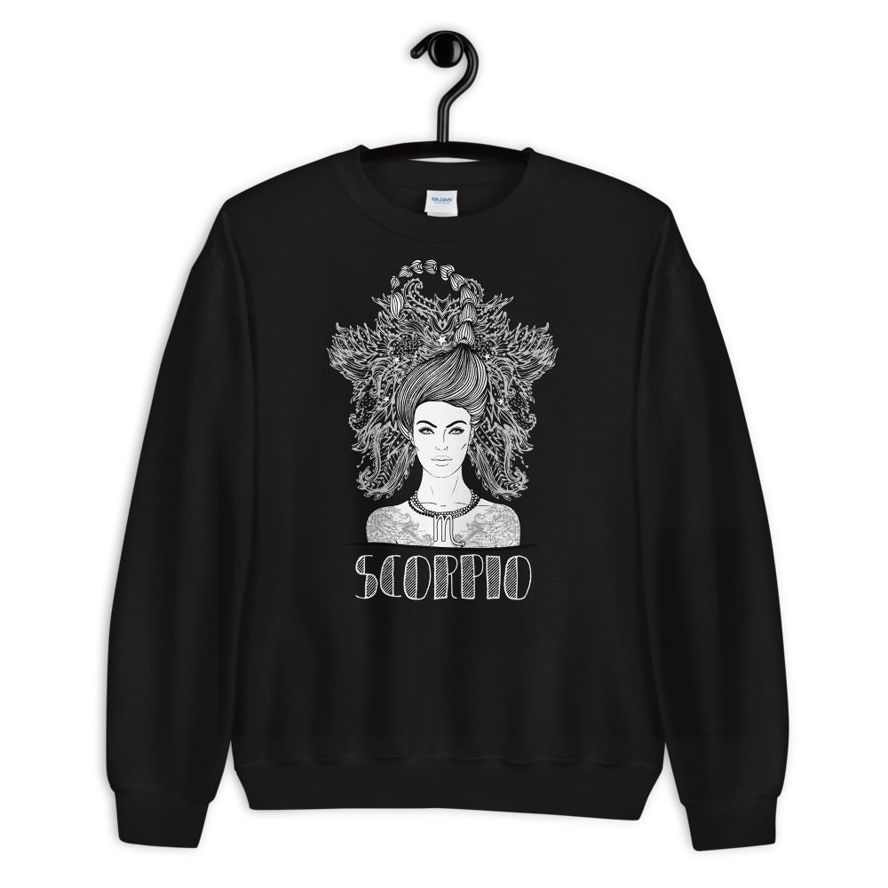 Black Scorpio Zodiac Pullover Crewneck Sweatshirt for Women