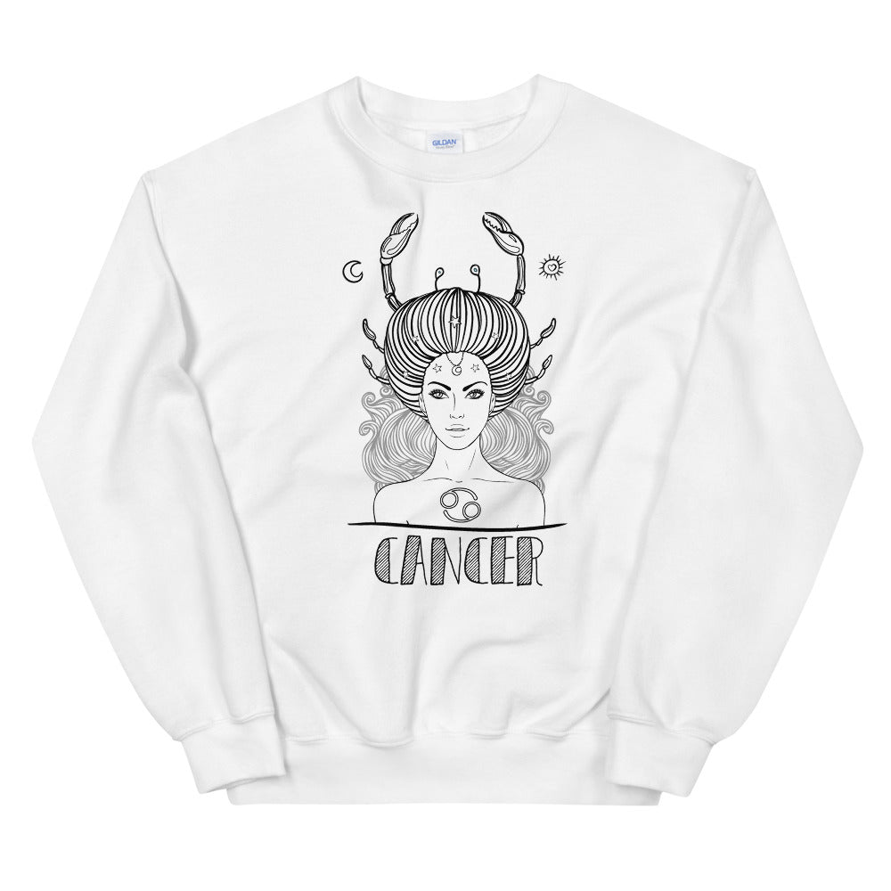 Cancer Sweatshirt | White Crewneck Cancer Zodiac Sweatshirt