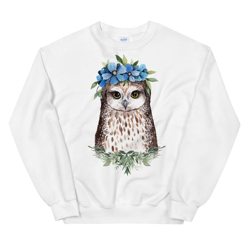 Owl Sweatshirt | Flower Crown Owl Sweatshirt for Women in White