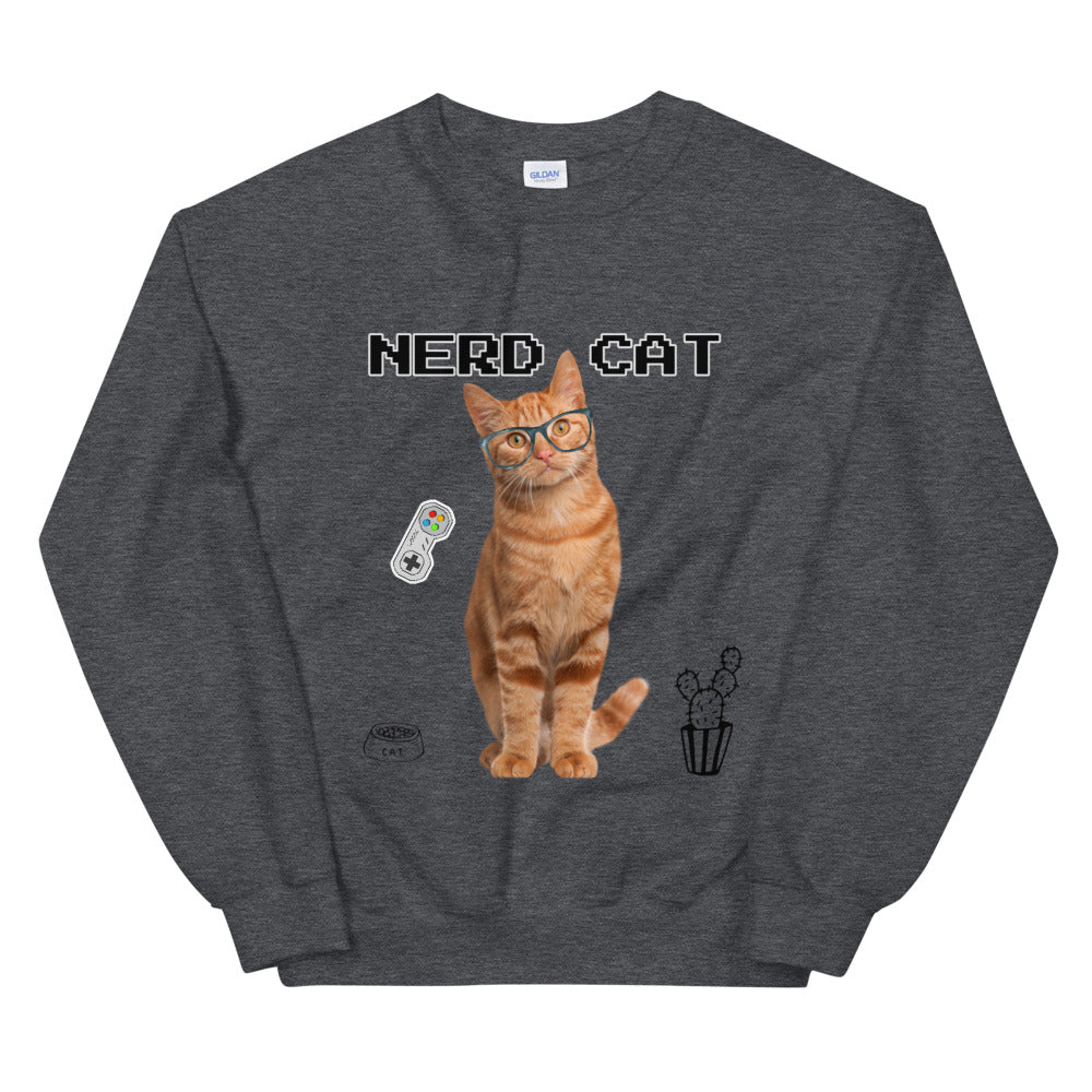 Gamer Nerd Cat Crewneck Sweatshirt for Women