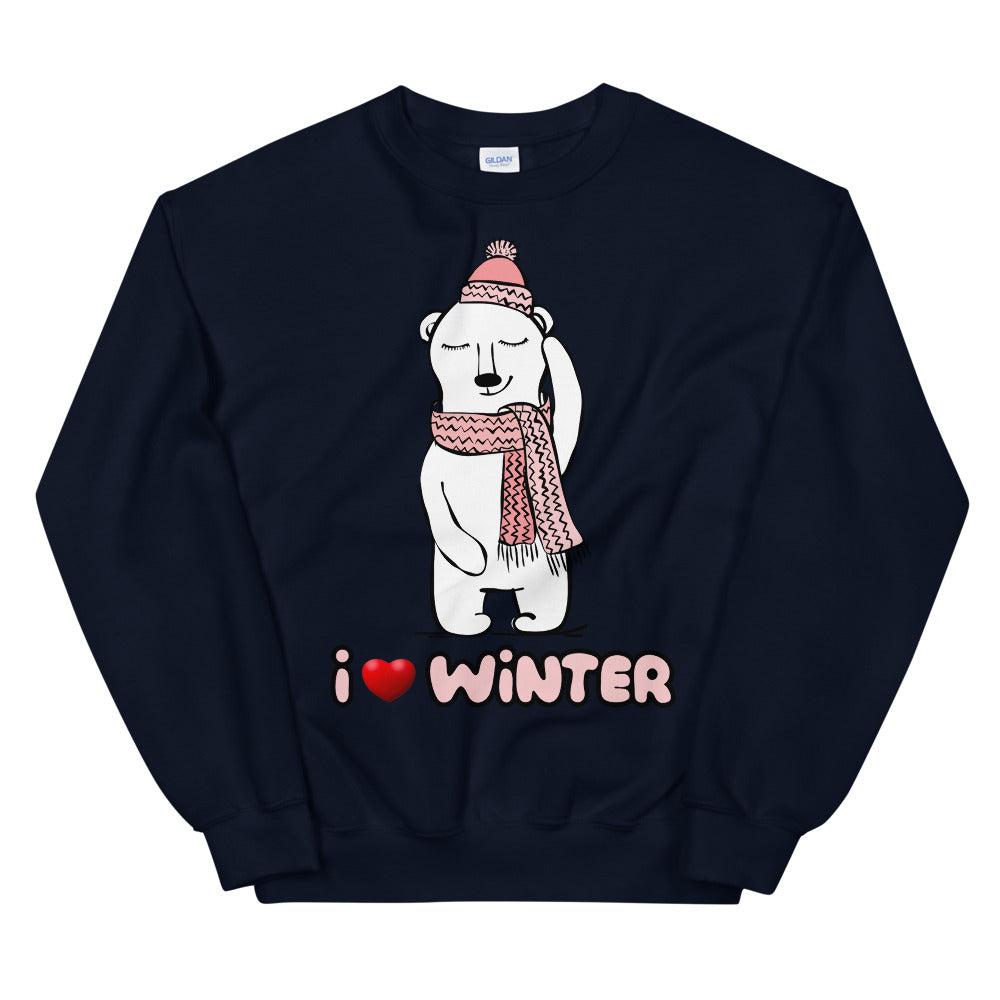 I Love Winter Sweatshirt | Cute Winter Love Polar Bear Crewneck