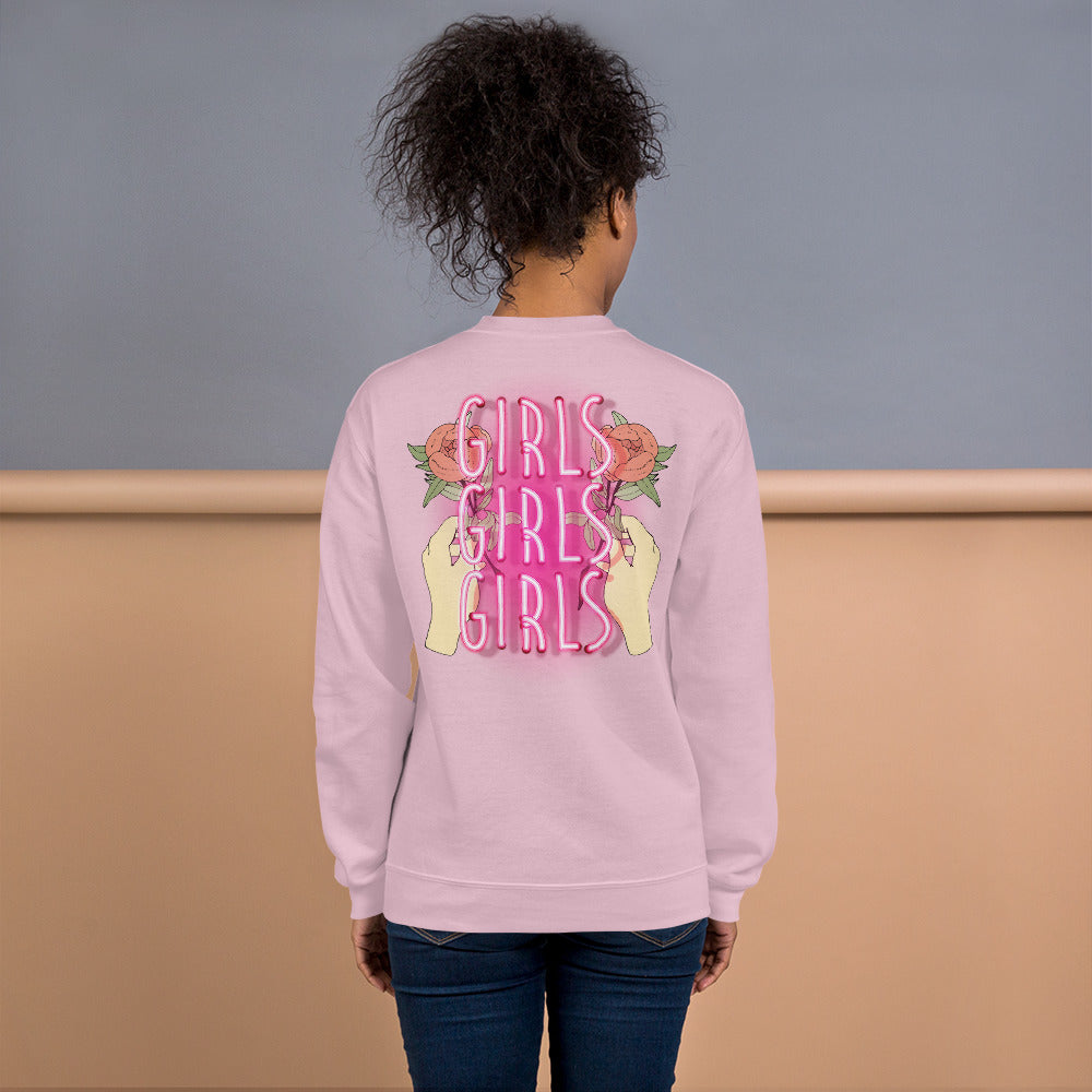 Girls Girls Girls Backprint Crewneck Sweatshirt for Women