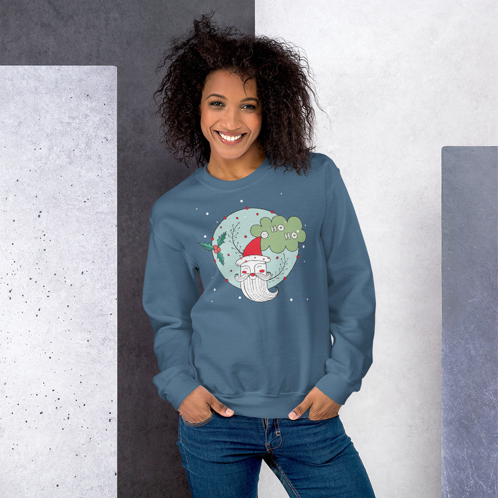 Santa Claus Face Ho Ho Crewneck Sweatshirt for Women