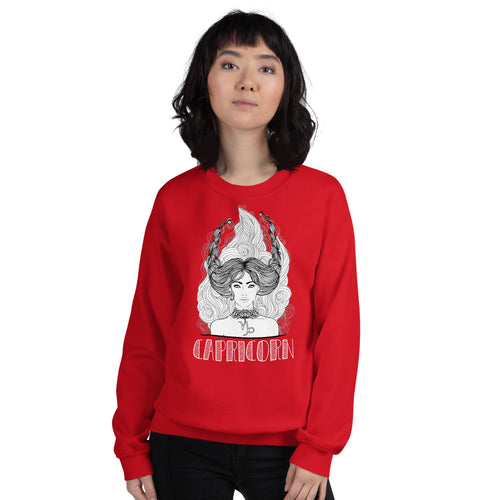Capricorn Sweatshirt | Red Crewneck Capricorn Zodiac Sweatshirt