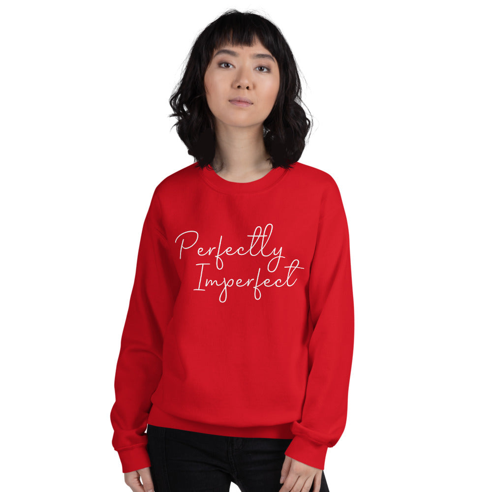 Perfectly Imperfect Sweatshirt | Red Perfectly Imperfect Crew Neck Sweatshirt for Women