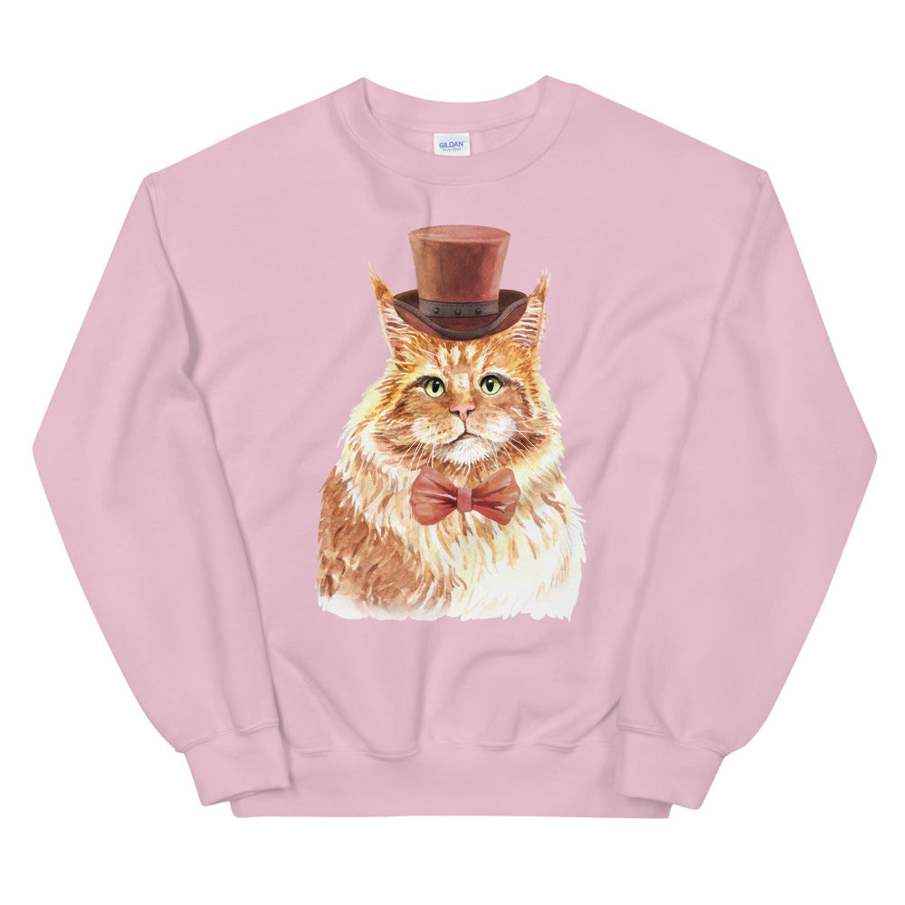 Cat with Bow Tie Crewneck Sweatshirt for Women