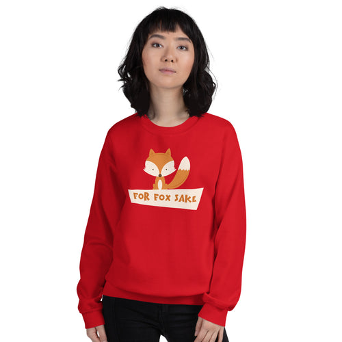 Red For Fox Sake Pullover Crewneck Sweatshirt for Women