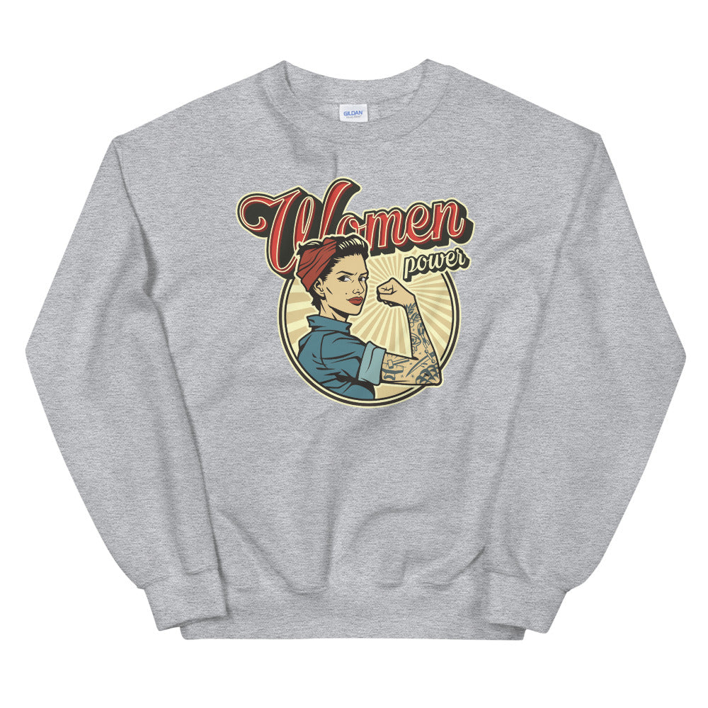 Vintage Women Power Sweatshirt | Grey Woman Power Sweatshirt