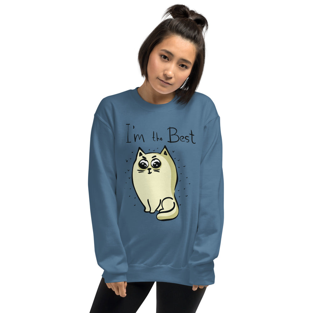 I am The Best Cat Sweatshirt | Cat Meme Crewneck For Women