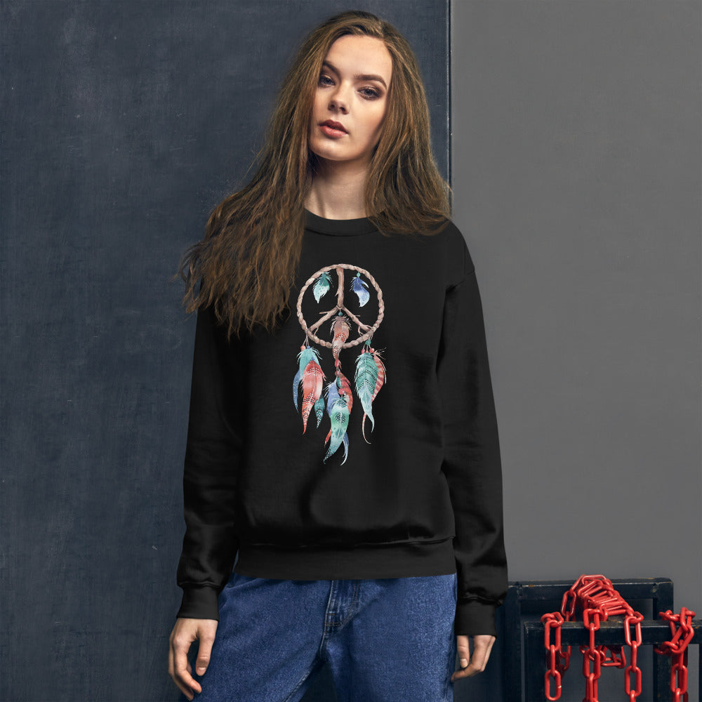 Dreamcatcher Sweatshirt | Black Spiritual Peace Dreamcatcher Sweatshirt
