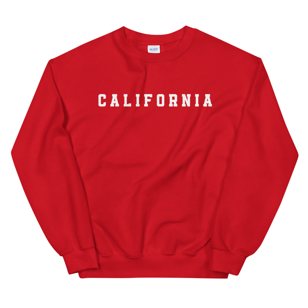 California Sweatshirt | Red Crew Neck College Sweatshirt