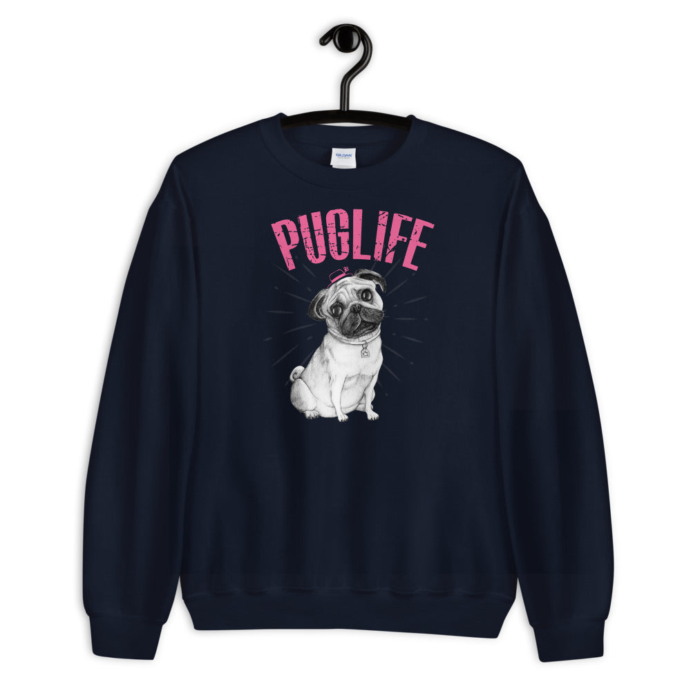 Pug Sweatshirt | Navy Pug Life Sweatshirt for Dog Lovers
