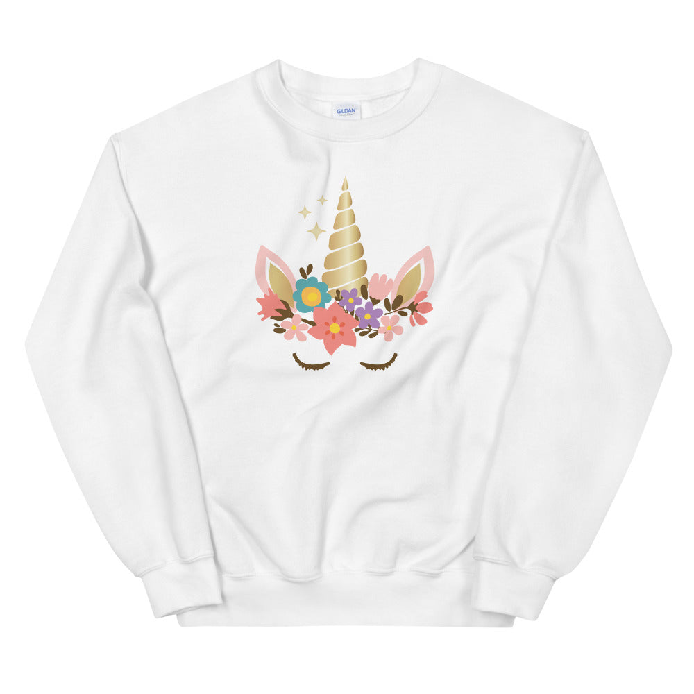 Unicorn Sweatshirt | White Cute Unicorn Sweatshirt for Women