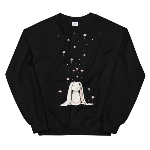 Cute Bunny with Falling Flowers Crewneck Sweatshirt