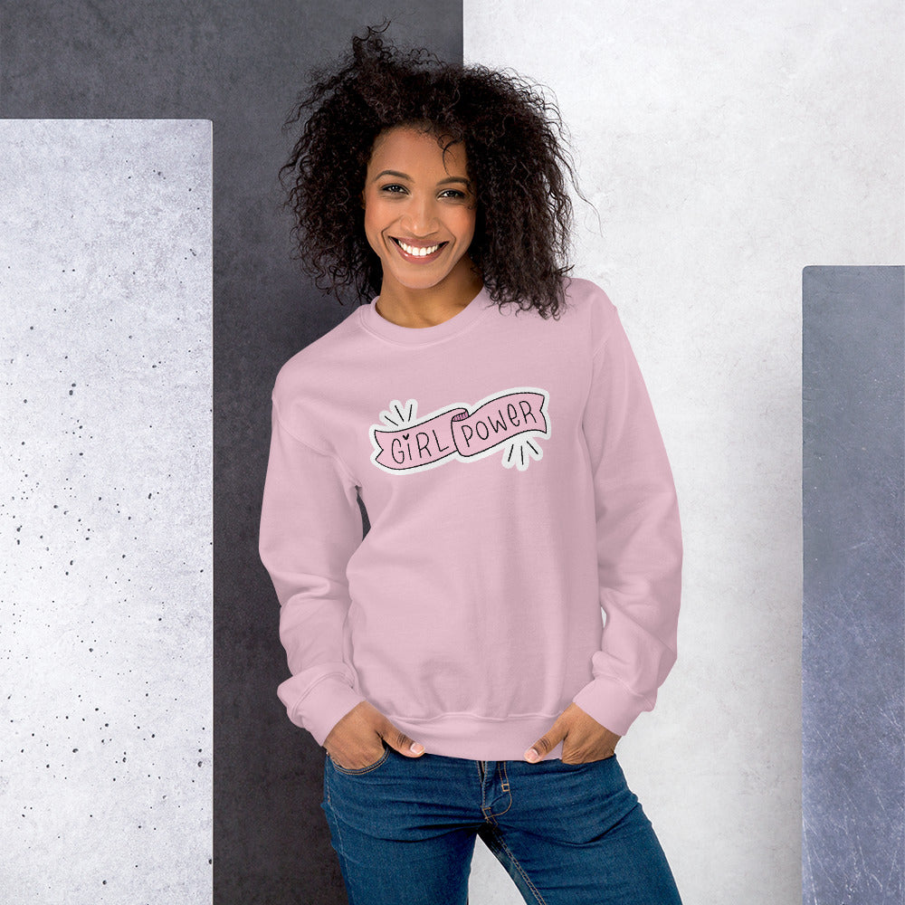 Girl Power Pink Ribbon Sticker Crewneck Sweatshirt