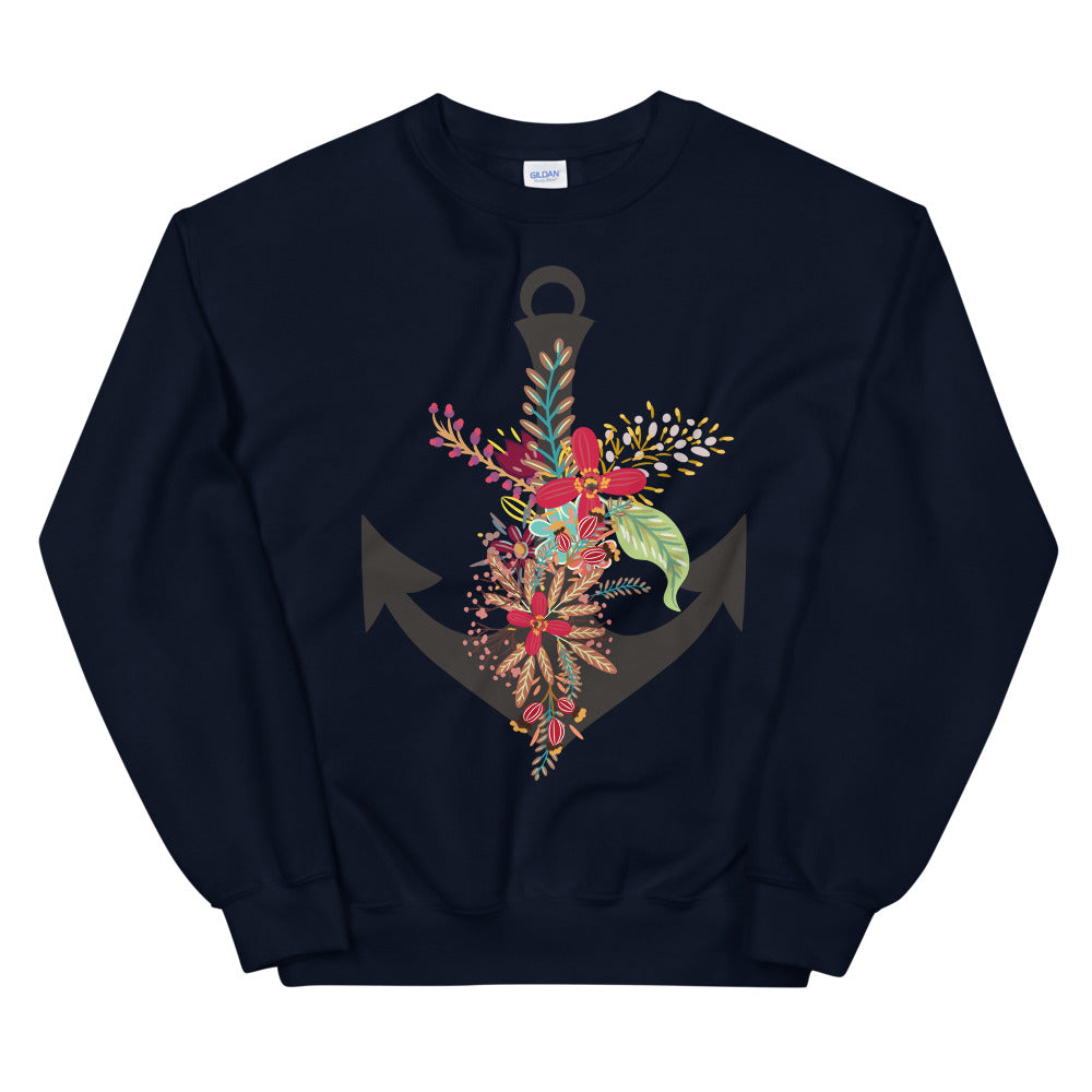 Boho Boat Anchor Crewneck Sweatshirt for Women