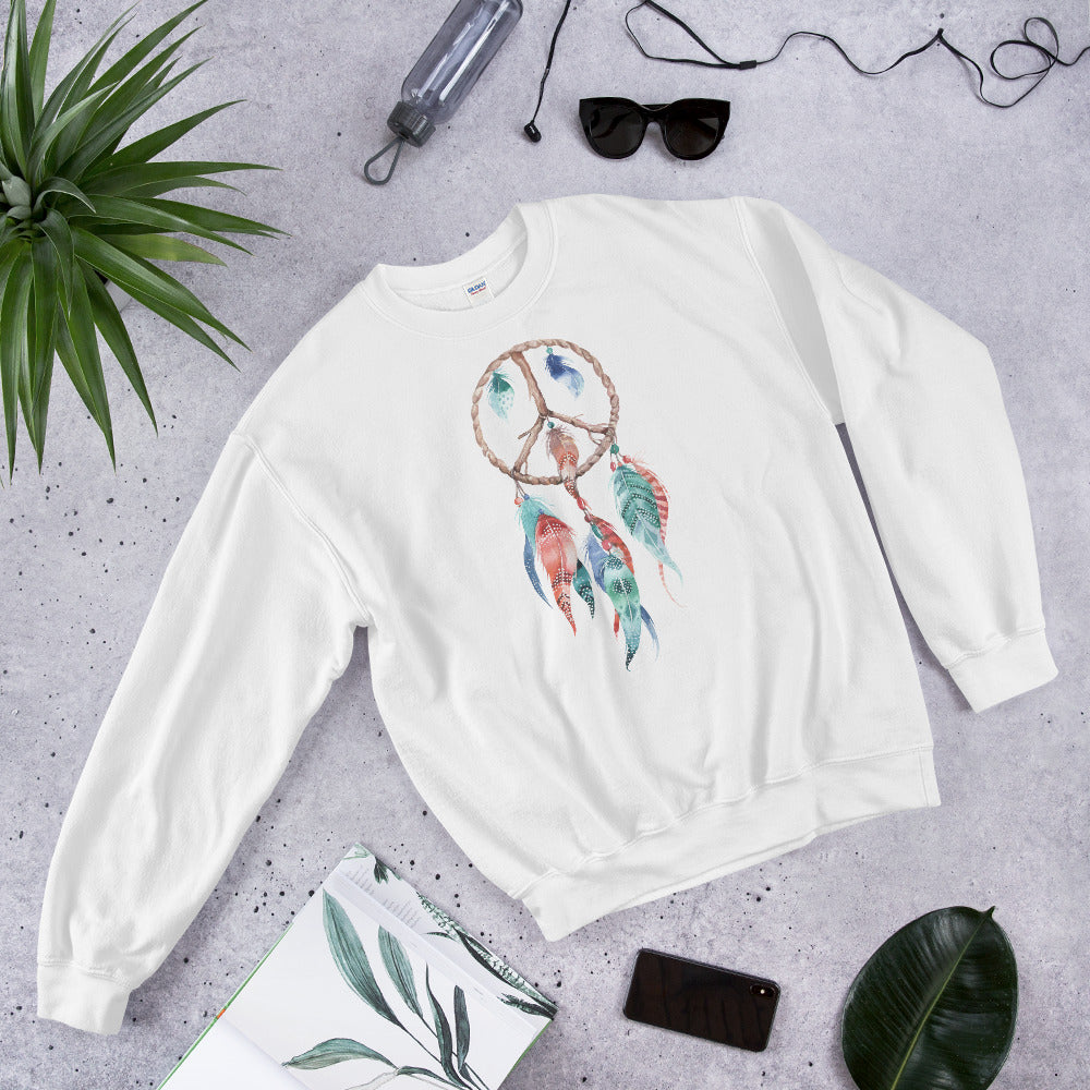 Dreamcatcher Sweatshirt | White Spiritual Peace Dreamcatcher Sweatshirt